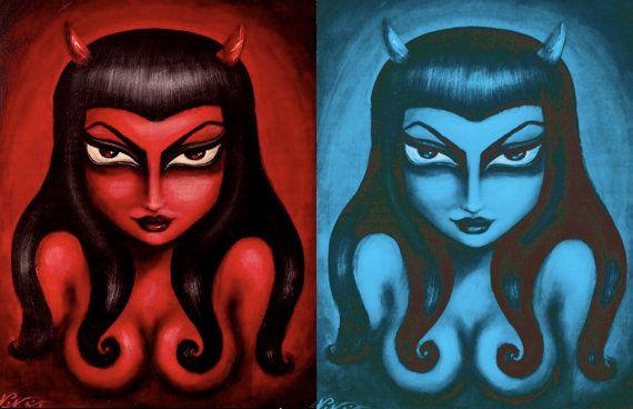 Chaude rouge / bleu électrique ventru gothique séduisante pin-up femme diable tendu toile imprimer par Nina vendredi