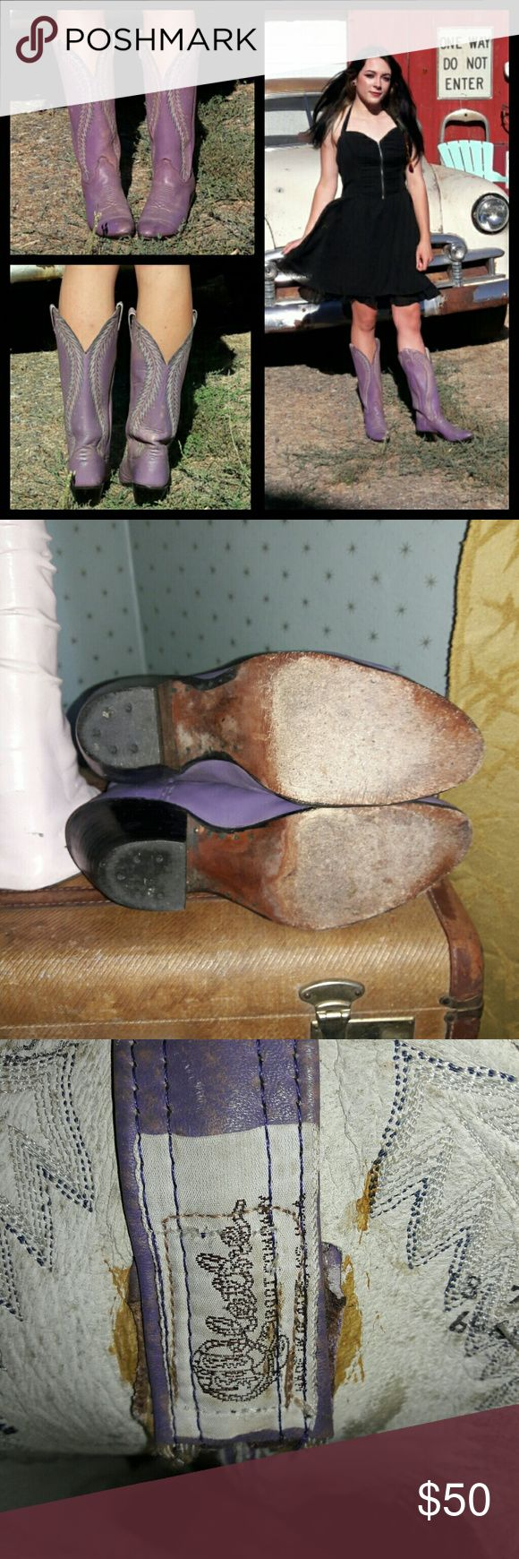 Vintage Olathe purple tall cowboy boots! Awesome! Vintage purple Lavendar cowboy boots size 7.5. These boots have been around the block! They are in rough vintage shape but very wearable! Worn in and soles still have lots of life in them. The color is fabulous! There are some areas in the boots that have staining and discoloration, most likely from cleaning out the horse stalls! I think it only adds to their charm. These boots are the real deal! olathe Shoes
