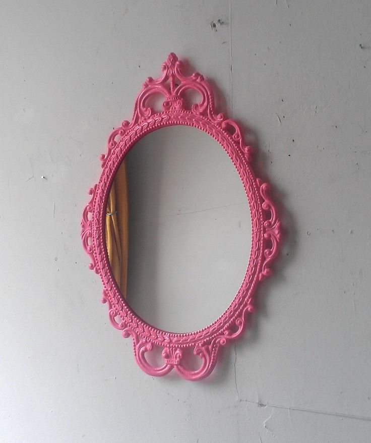 Pink Wall Mirror in Hand Painted Vintage Metal 17x12 Frame, Pink Girls Room or Nursery, Small Bathroom, Decorative Oval Framed Mirror by SecretWindowMirrors on Etsy https://www.etsy.com/listing/235904343/pink-wall-mirror-in-hand-painted-vintage