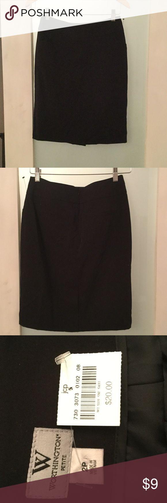 Worthington Petite black dress skirt with pockets New with tags. Nice dress skirt with slit in back Size 2P Worthington Skirts Midi