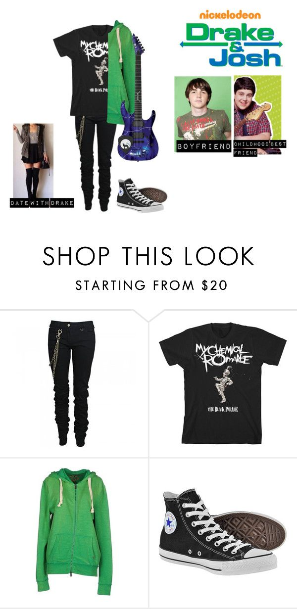 """""""me in: 'drake & Josh'"""" by j-j-fandoms ❤ liked on Polyvore featuring Karl Lagerfeld, 40WEFT and Converse"""