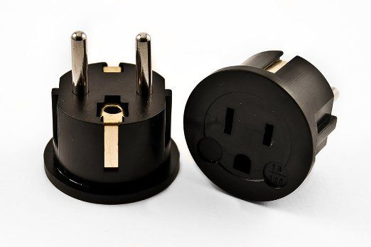 VCT Electronics VP11B Grounded Europe Adapter - USA To Europe