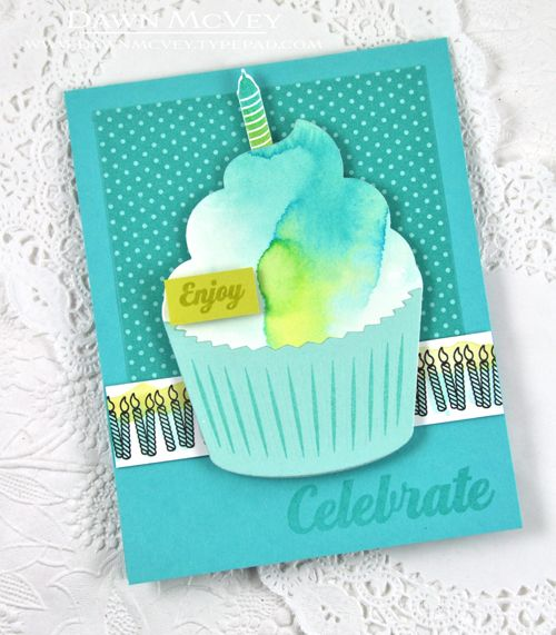watercolored candle border + enclosed: cupcake = a yummy match by dawn