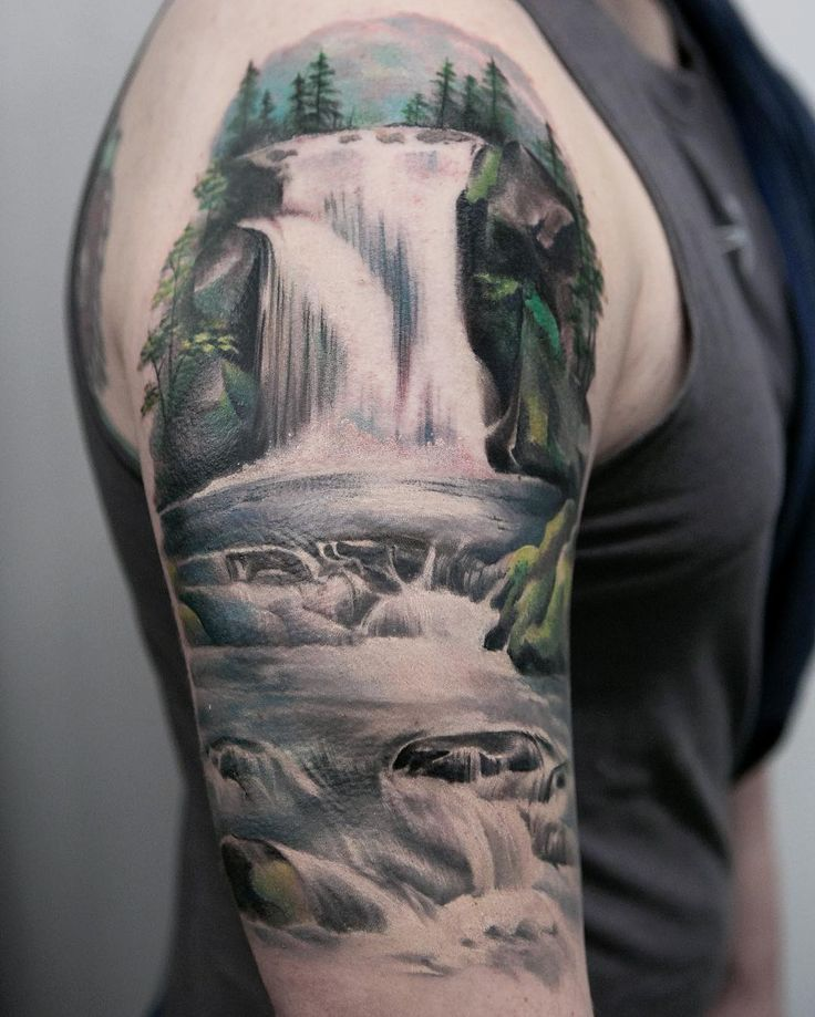Joice Wang nature waterfalls tattoo Waterfall tattoo