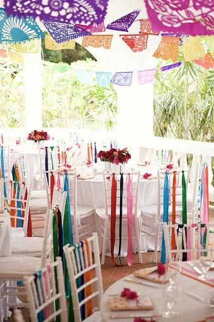 Bunte Farben! Mexikanische Papier Dekorationen.