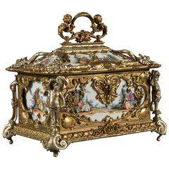 Large German Gilt Bronze and Silver, Painted Porcelain Jewel Box/Casket   – Шкатулка