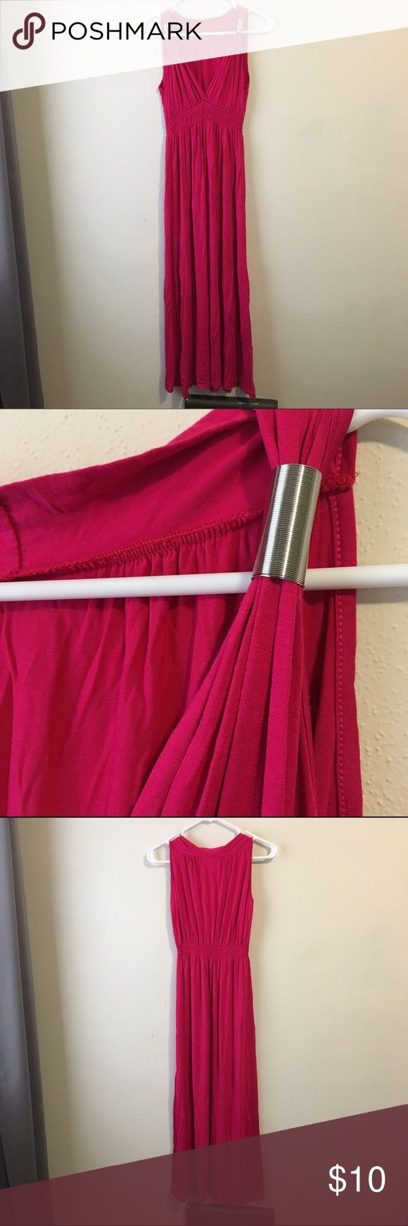 Pink maxi dress. Light and flowy pink maxi dress with adjustable silver coil details on the straps. Like new. Don't know brand. Dresses Maxi