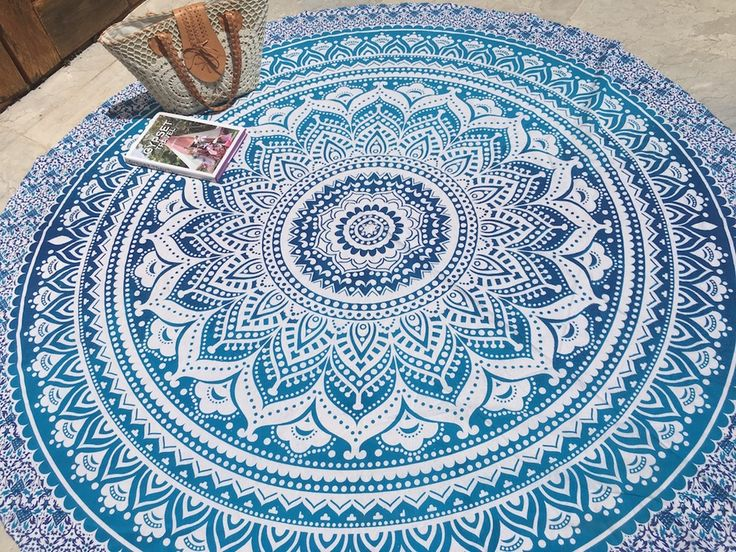 ☾❂☽ Roundie Blue Ombre Life Mandala ☾❂☽ www.thirteenblessings.bigcartel.com