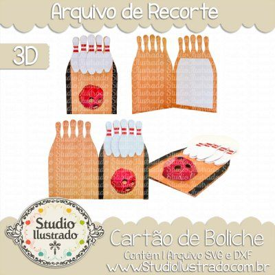 Bowling Card, Cartão de Boliche, Folded Card, Balls, Pinos, Strike, Spare, Pista, Queenpin, Kingpin, Skittles, Bowling Club, Ninepins, Pins, Bowling Alley, Bowl, Sports, Esportes, Diversão, 3d, Modelo 3d, 3d Project, Silhouette, DXF, SVG, PNG