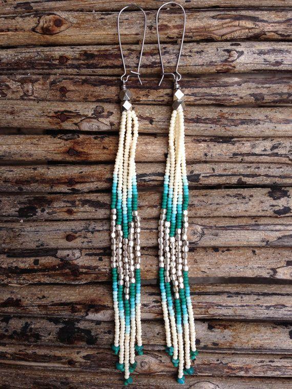Turquoise Stone Earrings, Long Fringe Earrings, Long Seed Bead Earrings, Tribal Jewelry