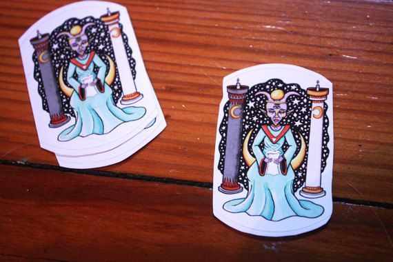 Tarot stickers vinyl stickers high priestess cool stickers weatherproof sticker hipster stickers tumblr stickers wicca stickers