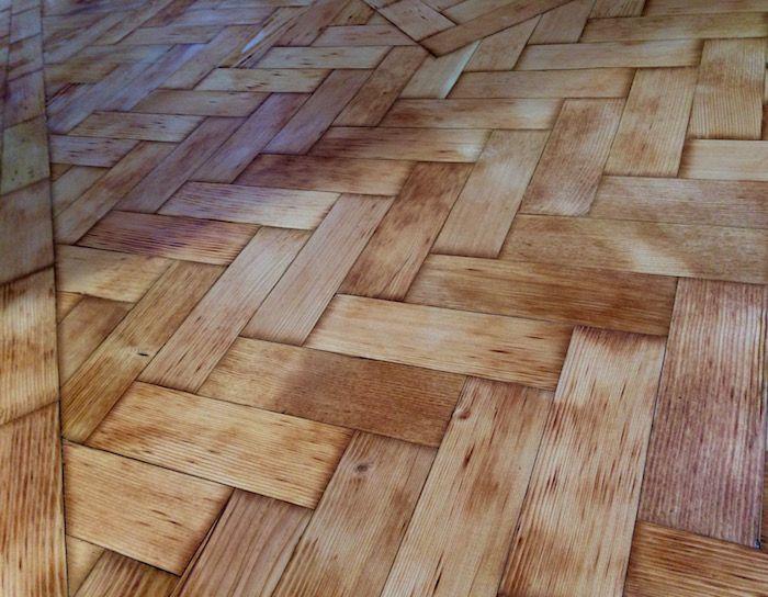 restored a pine parquet floor sealed with bona silk matt finish - Parquet Floor