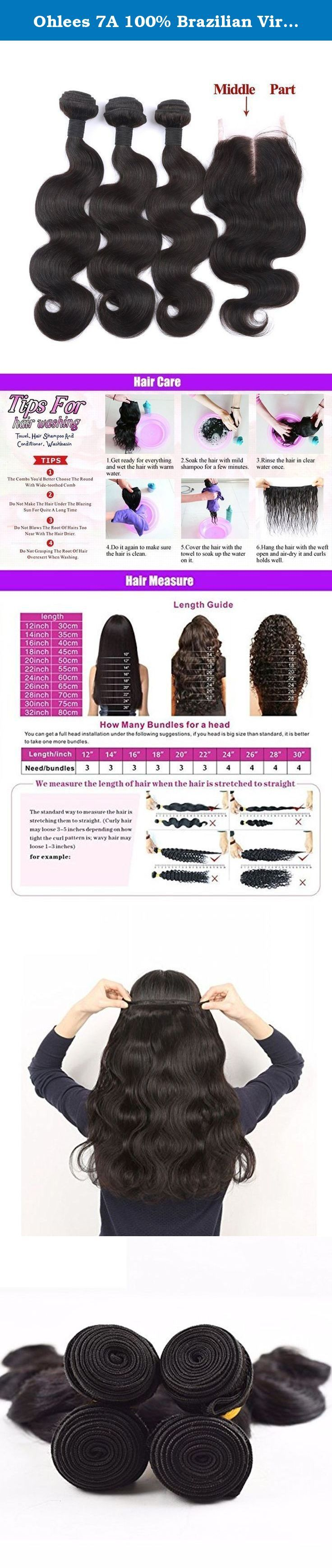 "Ohlees 7A 100% Brazilian Virgin Remy Human Hair Weft Natural Color Body Wave Weave Extensions 3 Bundles +Middle Part Lace Closure (44) 1Bundles (14""16""18""+10""). 一、How to care the hair ? Improper wash or process probably make the hair dry, easy to fall down or tangle. How you care for your extension will be the ultimate determining factor. Please refer to local professional hairdresser for professional tip. The hair can last at least several month in proper way. 1) wash it by the most mild..."