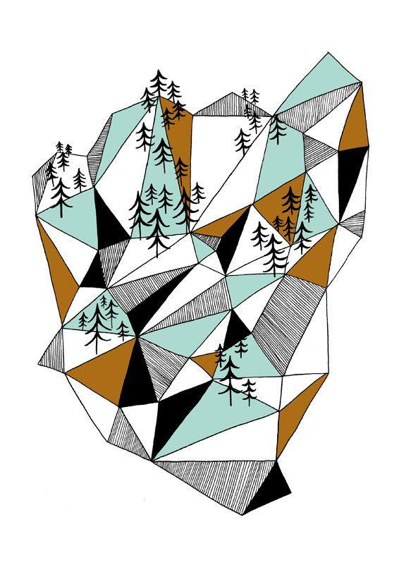 Geometric Mountain Print.
