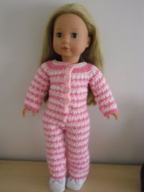 PDF Crochet pattern for a striped onesie for 18 inch doll, American Girl Doll or Gotz doll