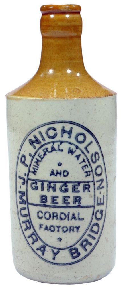 J. P. Nicholson, Ginger Beer, Murray Bridge. Tan top, dump shape. Stoneware ginger beer bottle. c1920s