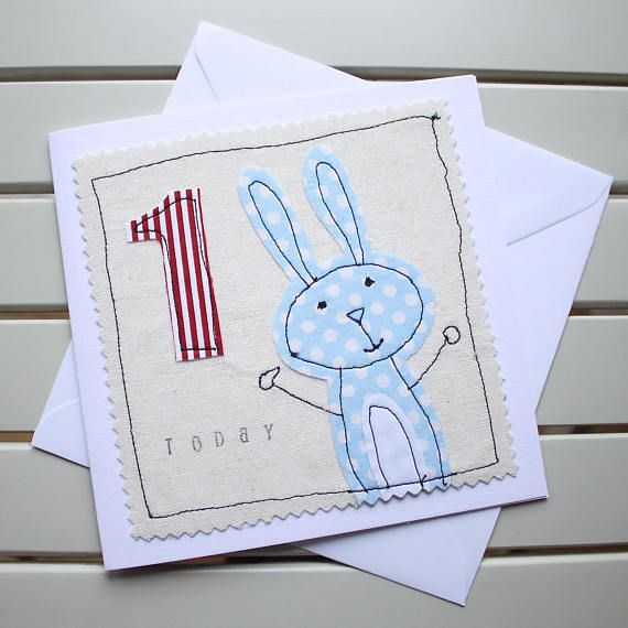 This cute, one-off, handmade 1st birthday card has been designed and made by myself using the technique of free motion machine embroidery. It is lovingly made to create a really special birthday card for a little one to celebrate their big day. Individual