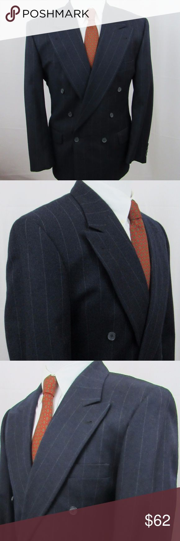 """🇺🇸   Joseph Abboud blue pin striped suit Made in the USA This is a 100% wool, peak lapel, double breasted size 40R suit. It's color is blue, with pin striping. Sharp suit. I don't find flaws but please zoom in throughout to make a determination.  My best measurements:  Jacket Shoulder: 20"""" Pit to Pit: 21 1/2"""" Length: 30 1/2"""" Sleeve: 34 1/2"""" (with 2"""" extra)  Trousers Waist: 32"""" Rise: 11 1/2"""" Inseam: 30""""  Cuff: 1 1/2"""" (with 1 1/2"""" extra)  INV-H99-170300 Joseph Abboud Suits & Blazers Suits"""
