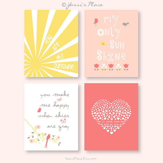 You Are My Sunshine girl nursery art in coral, peach and yellow, sun rays, tulips, pink bird, heart/ Set of four 8x10 prints
