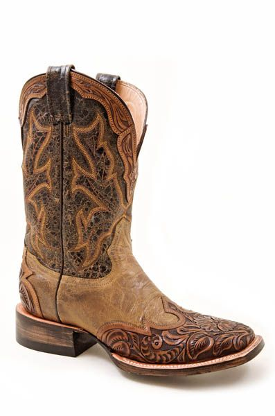 Hand Tooled Wingtip Two-Tone Brown Boots with Wide Square Toe