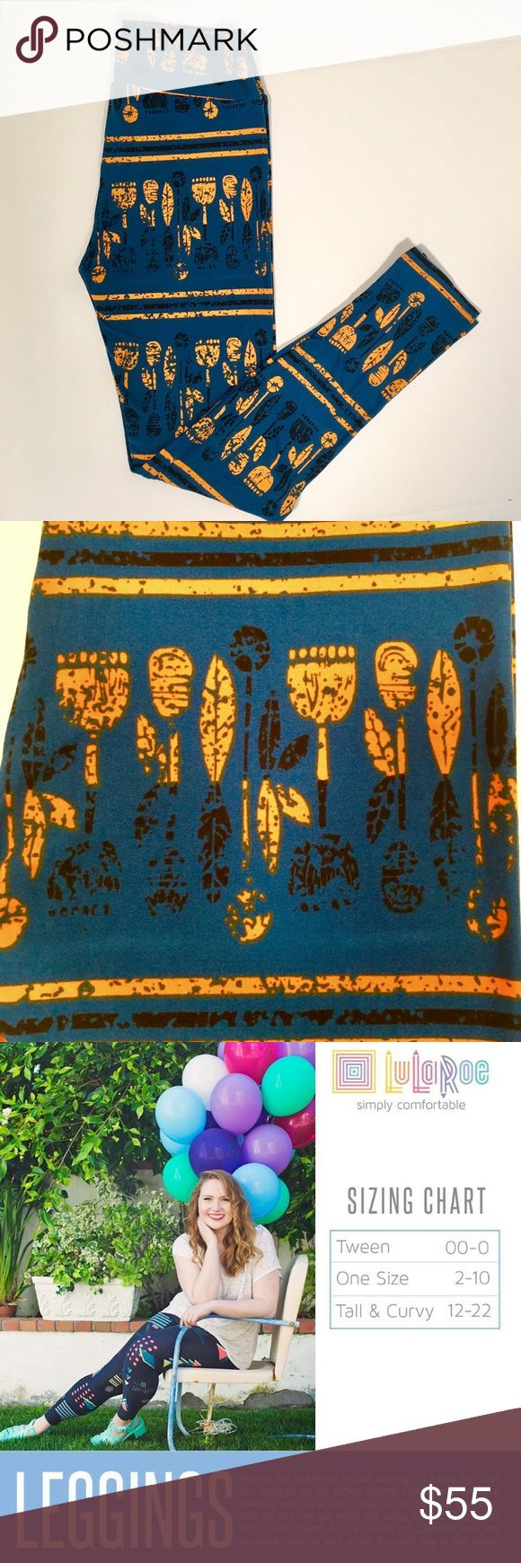 NWT LuLaRoe Aztec Tribal Leggings One Size Brand new with tags! Never worn! Hard to find patten. LuLaRoe ink blue one size (2-10) leggings with Native American, Aztec, Tribal pattern in gold yellow and black. LuLaRoe Pants Leggings