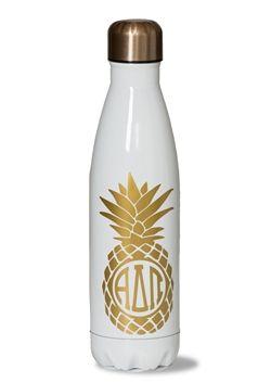 Alpha Delta Pi Pineapple Water Bottle. www.sassysorority.com #ADPI #bidday #sororityletters #tumbler #biglittle gift #sassysorority #adpi #pineapple #drinkware #waterbottle