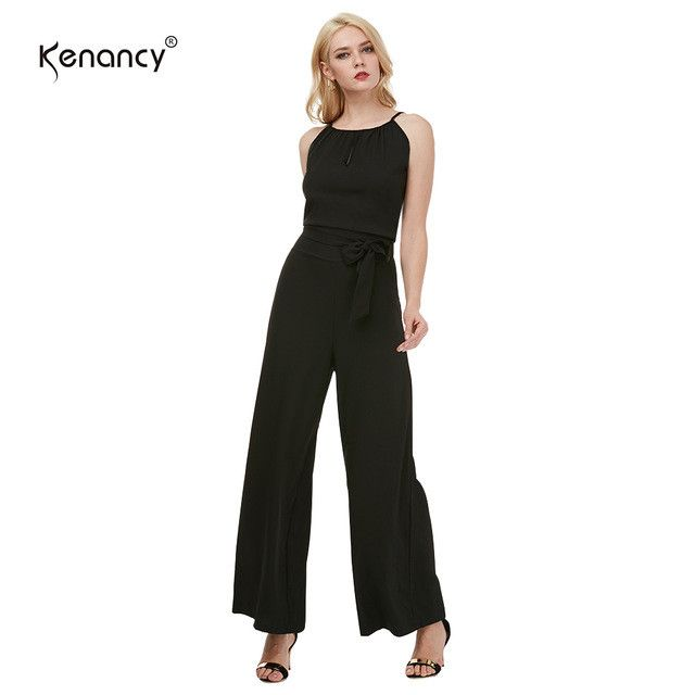 Wide Leg Jumpsuit Fashion Sleeveless Black Hollow Suspender Women Summer Jumpsuit and Rompers With Belt