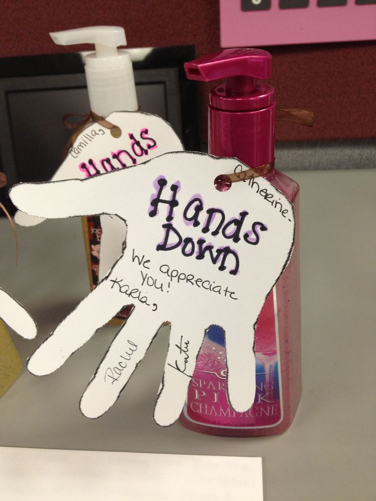Employee Recognition / Associate Recognition : Hands Down We Appreciate You attached to hand soap