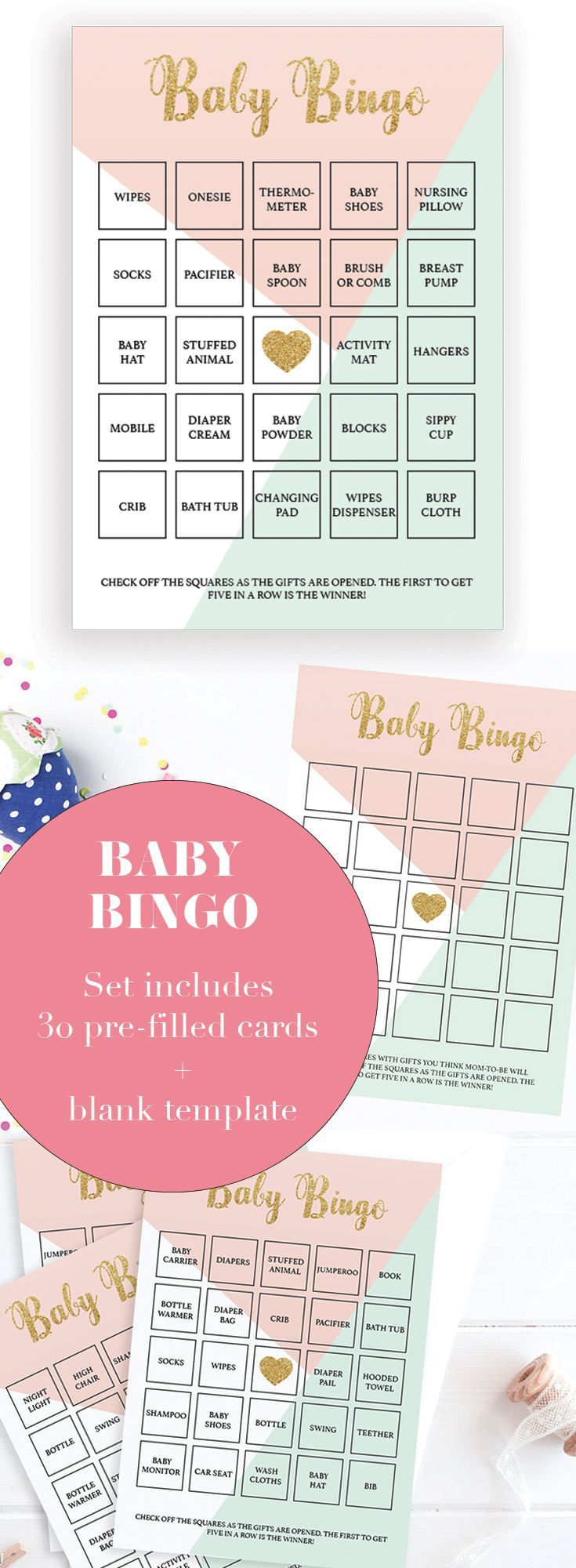 Printable Baby Shower Game Cards by LittleSizzle. A fun Baby Shower game for large groups. Play Bingo with these soft pastel Baby Bingo cards. Check off the squares as the gifts are opened. The first to get five in a row is the winner! The set has everyth
