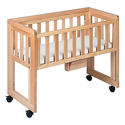 Bed option-pinned for inspiration for our own DIY. Co-sleeper crib.
