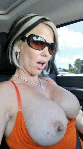 Flashing my huge tits in public on a bridge 9