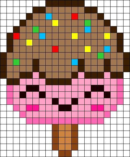 Free Kawaii Ice Cream perler hama bead pattern or cross stitch chart