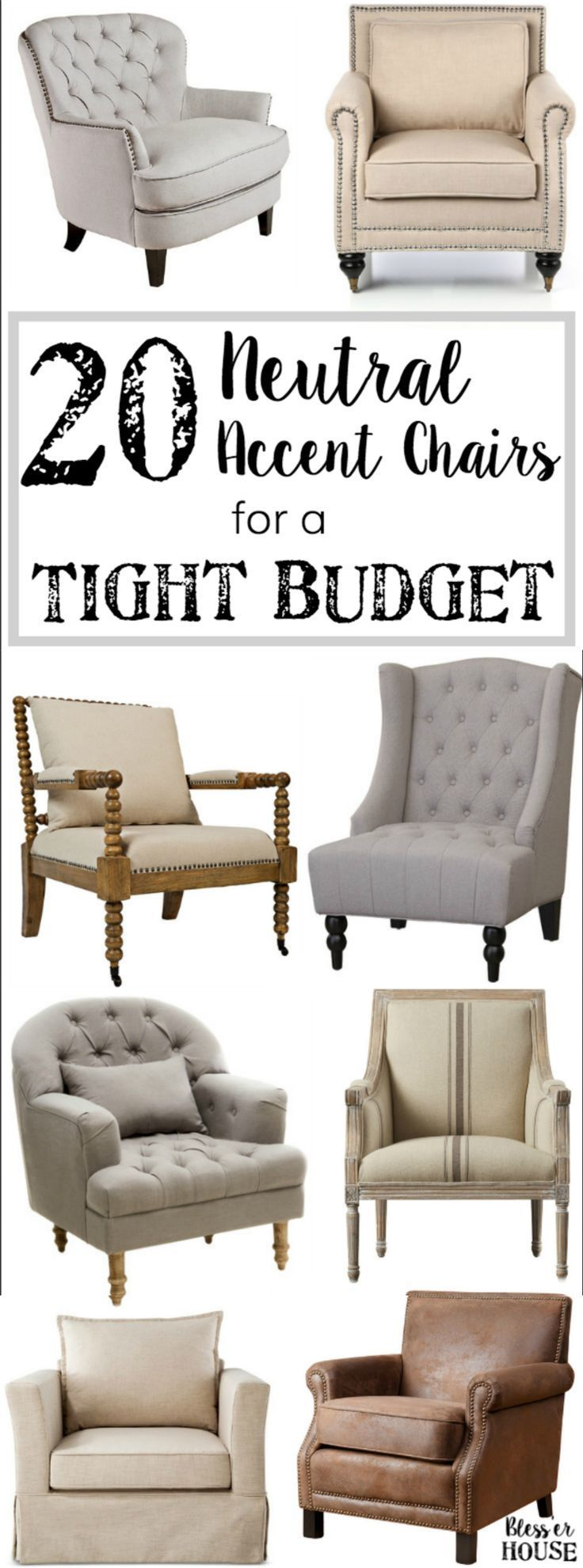 20 Neutral Accent Chairs For A Tight Budget Http Blesserhouse Com 20 Of The Most Highly Comfortable Accent Chairs Comfy Accent Chairs Living Room Chairs
