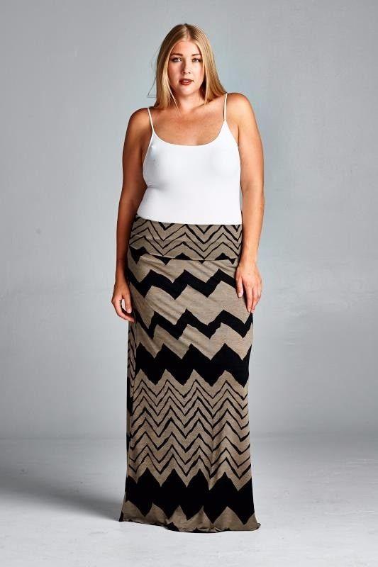Desert Chevron Maxi Skirt - Curvy