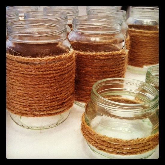 4 Twine Wrapped Jars, 4 Twine Wrapped Mason Jars...Mason Jars...Mason Jar Wedding Decor...