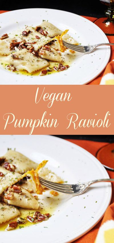 Vegan Pumpkin Ravioli! This vegan pumpkin ravioli recipe is made with real pumpkin and savory spices.  www.veganosity.com