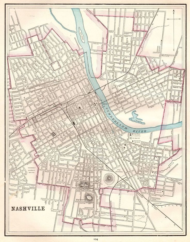 1892 Antique NASHVILLE Map or MEMPHIS TENNESSEE Map Your Choice 4513