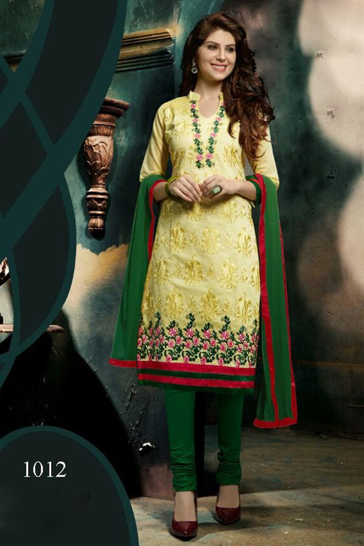 Gorgeous Yellow Color Chanderi Cotton Salwar Suit