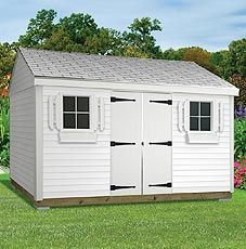 The Hancock Shed - Includes delivery and installation. Shown with white vinyl siding and white shingles. Shed sizes starting at 8' x 12'. www.millstores.com