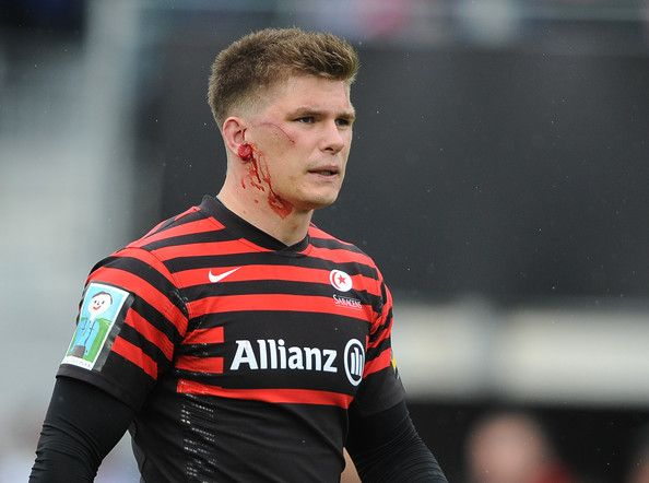 Owen Farrell of Saracens with a cut ear during the Aviva Premiership Semi Final match between Saracens and Northampton Saints at Allianz Park on May 12, 2013 in London, England.