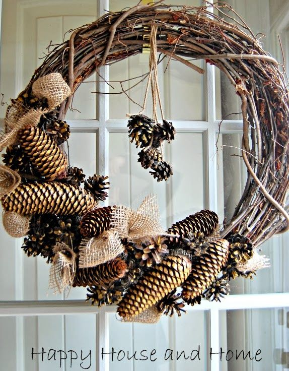 pine and burlap wreath- I need to make a trip out to my Unc's place to collect pine cones to make Christmas wreaths.