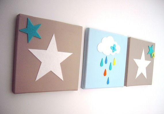 Tableau triptyque b b toile et moutons bleu blanc taupe cadeau de naissance taupe b b - Deco chambre bebe gara on taupe et bleu ...