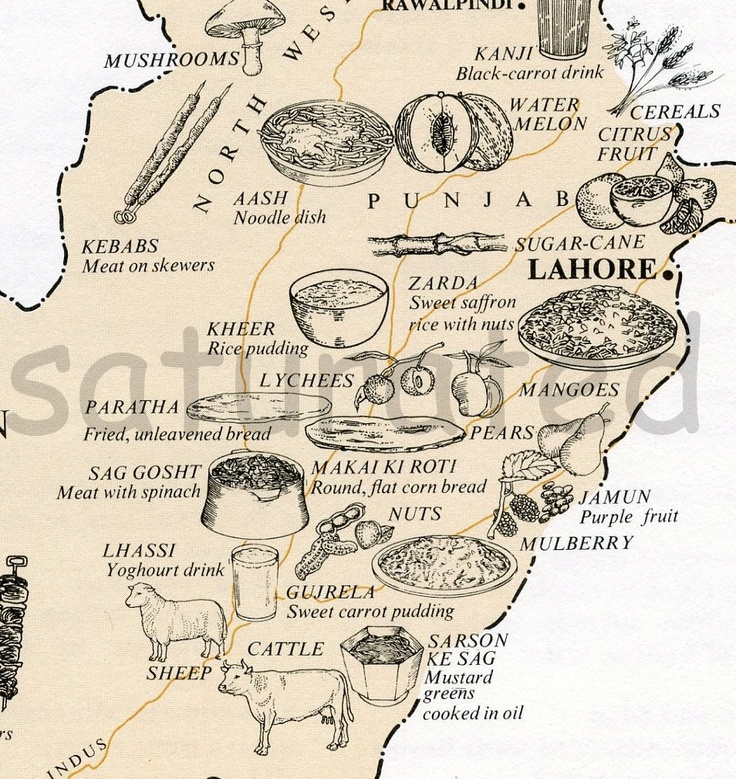 Pakistan Map - Vintage 1960s Food Map of Pakistan.