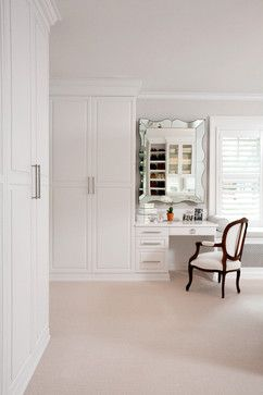 White Painted Maple Wood Walk-In Closet & Dressing Room, Westchester County, NY