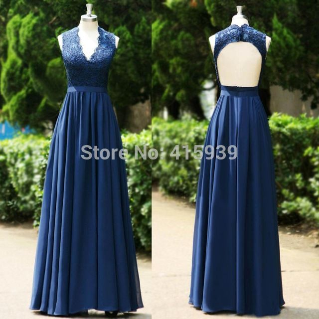 Envío gratis azul marino cuello en V vestido de encaje sin espalda Formal vestidos largos Convertible vestido de dama de honor de la madre de novia vestido BD225