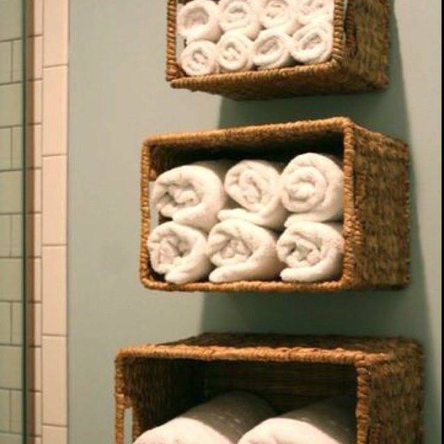Love this idea- maybe for my bathroom I'll use old cranberry crates!