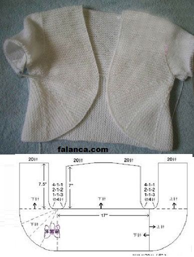 Knitted baby jacket / bolero with short-row rounded fronts, made according to method for adult jacket by Les aiguilles de Mamet ~~ orgu-bebek-yelek-4