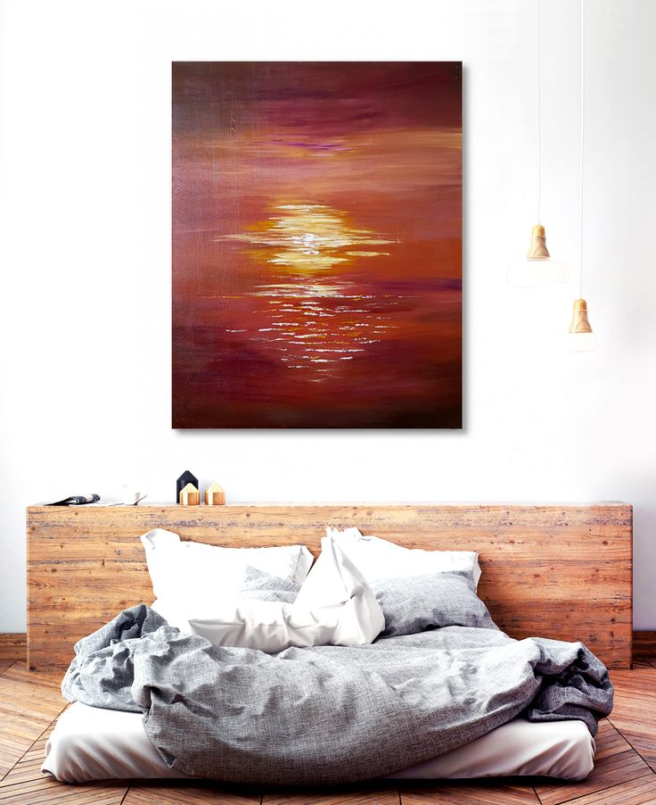 """24""""x30"""" Original Acrylic Sunrise Artwork Lustrous yellows, claret and ochre beautifully adds drama to this abstract sunrise composition https://merilyndcruz.etsy.com"""