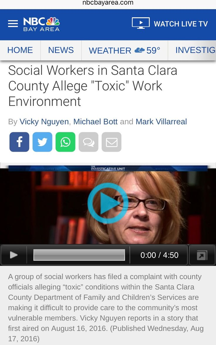 """PART 4: 2016-08-16. Social Workers in Santa Clara County Allege """"Toxic"""" Work Environment. [http://www.nbcbayarea.com/news/local/Social-Workers-in-Santa-Clara-County-Allege-Toxic-Work-Environment--390378652.html]"""