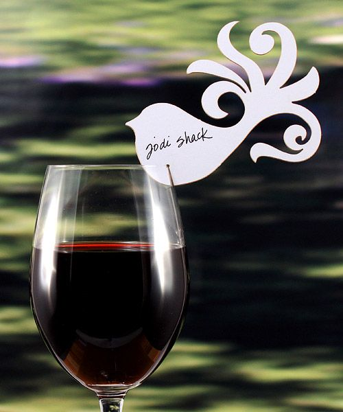 Bird decor for wine glass